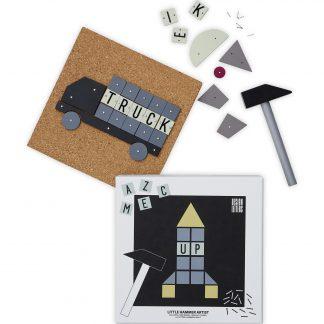 design letters hammer artist rocket