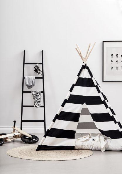 kids concept tipi tent zwart wit